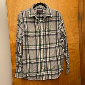 Old Navy Green Plaid Shirt size Large